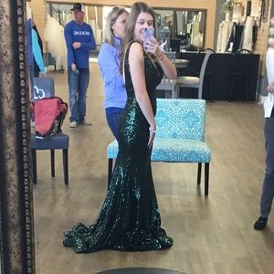 Forest green sequined prom dress